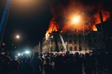 Burning City Building At Night...