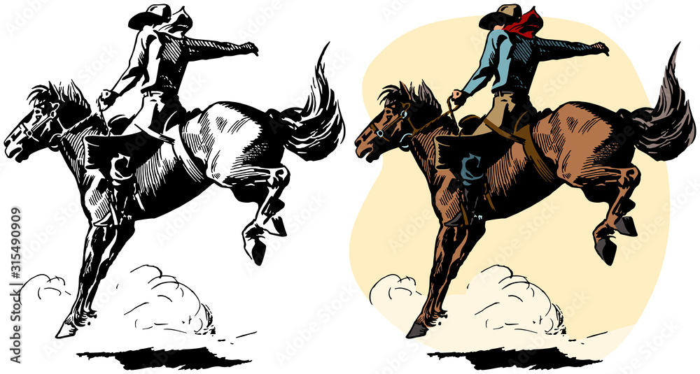 Fototapeta A cowboy rides a bucking bronco in a rodeo performance.