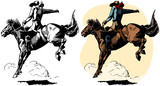 A cowboy rides a bucking bronco in a rodeo performance.