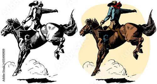 Fototapeta A cowboy rides a bucking bronco in a rodeo performance. obraz