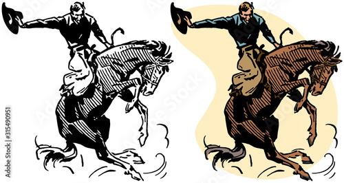 Fototapeta A cowboy rides a bucking bronco in a rodeo performance. obraz