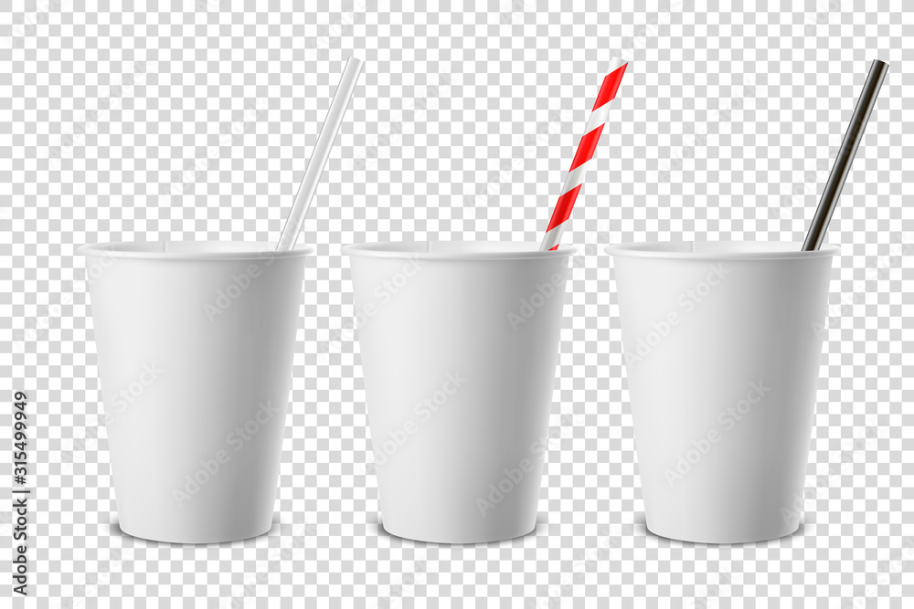 Fototapeta Vector 3d Realistic White Disposable Opened Blank Paper, Plastic Coffee, Tea Cup for Drinks with Straw Icon Set Closeup Isolated on Transparent Background. Design Template, Mockup. Top and Front View