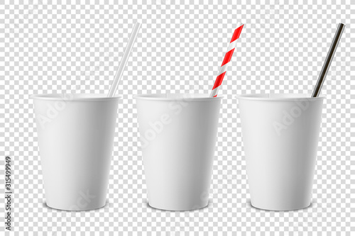Obraz Vector 3d Realistic White Disposable Opened Blank Paper, Plastic Coffee, Tea Cup for Drinks with Straw Icon Set Closeup Isolated on Transparent Background. Design Template, Mockup. Top and Front View - fototapety do salonu