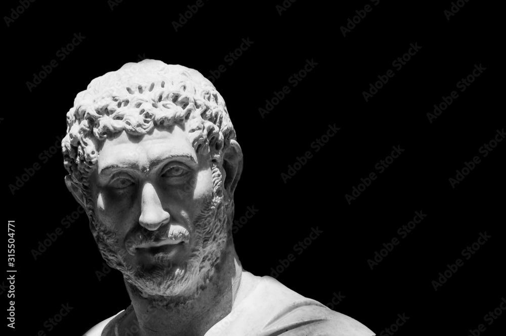 Fototapeta Black and white photo of classical roman statue male face