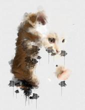 Digital Watercolour Painting Close Up Photo Of A Cute Cat. Beautiful Paint Of Small Carnivorous Mammal. House Cat Animal. Canvas Wallpaper Of Human Favorite Pet. Creative Digital Paintings