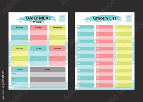 Fototapeta Menu meal planner and grocery shopping list weekly template for print in pastel colorful style obraz