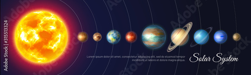 Colorful solar system with nine planets Fototapeta