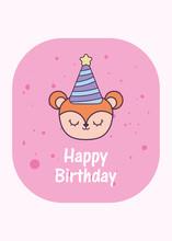 Squirrel Cartoon And Happy Birthday With Hat Vector Design
