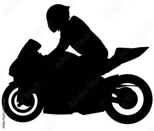 MotoGP Bike, motorcycle with the racer from the side. silhouette Wall mural