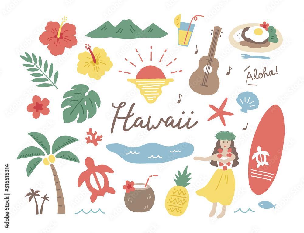 Fototapeta ハワイ手描き色々