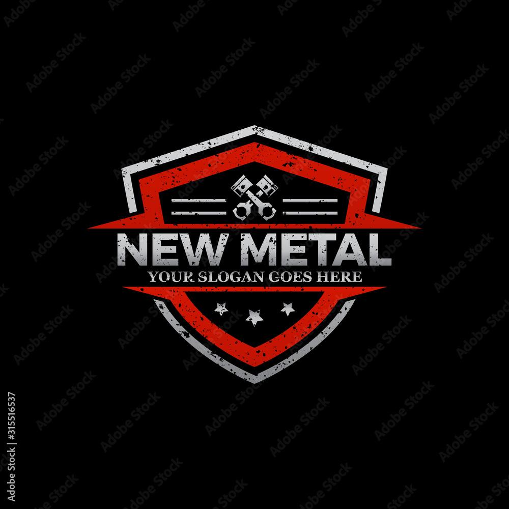 Fototapeta Repair Car logo image, rustic metal logo shield