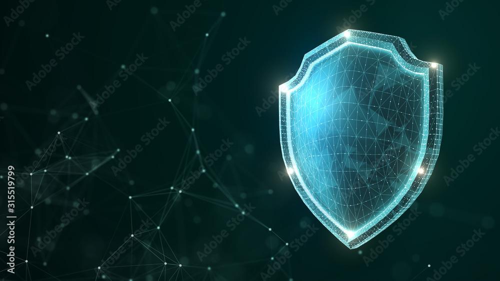 Fototapeta 3D rendering technology shield