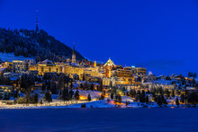 View Of St. Moritz Town In Switzerland At Night In Winter