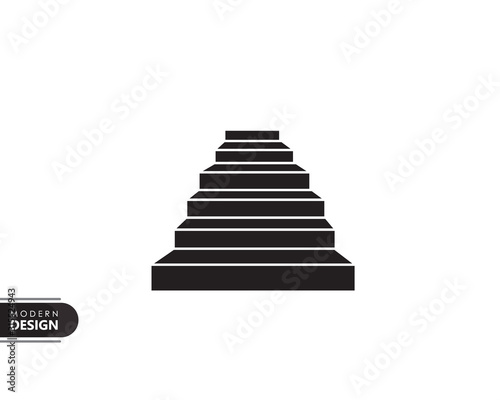 Fotomural building stairs black solid icon with modern design, isolated on white background
