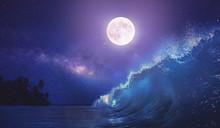 Beautiful Night Ocean Scenery ...