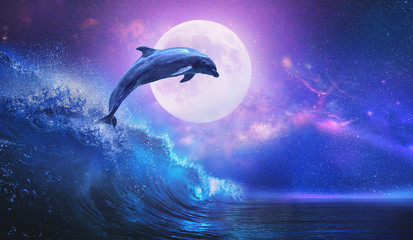 Fototapeta Delfin Night ocean with playful dolphin leaping from sea on surfing wave and full moon shining on tropical background