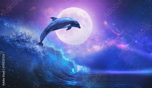 Fotomural Night ocean with playful dolphin leaping from sea on surfing wave and full moon