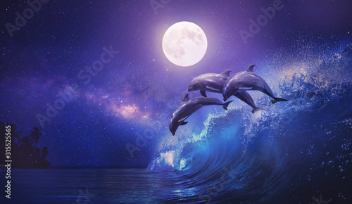 Cuadros en Lienzo Night ocean with three playful dolphins leaping from sea on surfing wave and ful