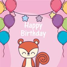 Squirrel Cartoon And Happy Bir...