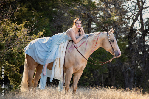 Photo Girl in Long dress with Palomino
