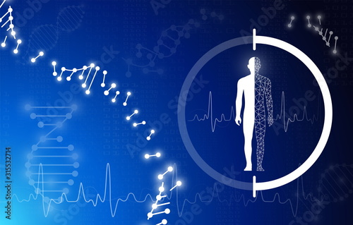 abstract background technology concept in blue light,brain and human body heal , Canvas Print