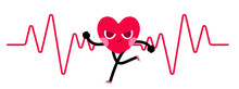 Heart Character Goes Running W...