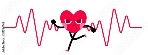 Valokuva heart character goes running with heart rate background
