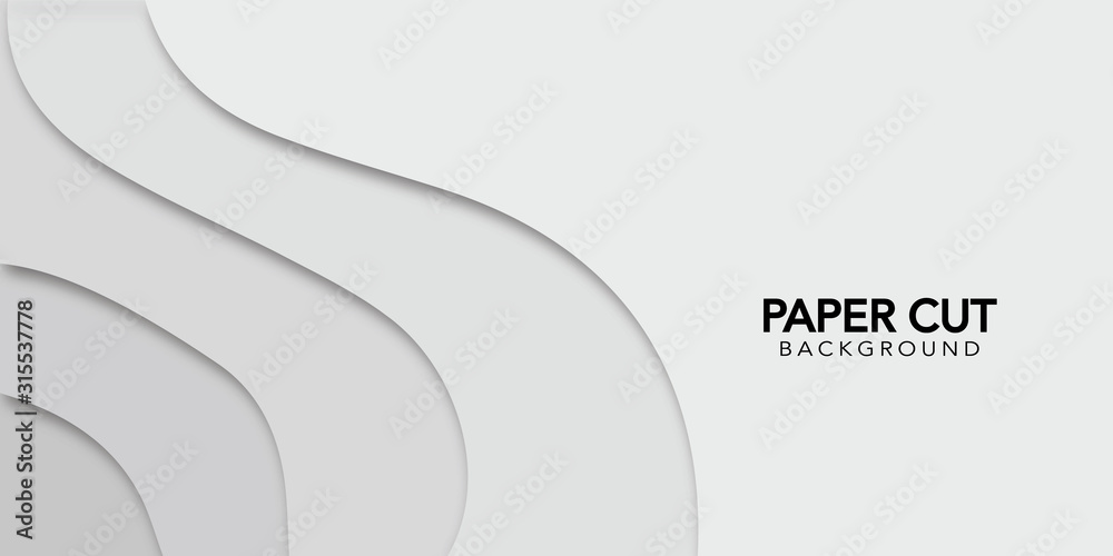 Fototapeta White abstract background  in paper cut style. Vector design banner.