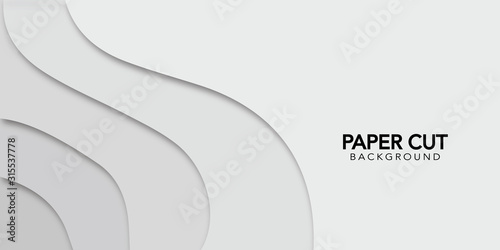 White abstract background  in paper cut style. Vector design banner. - 315537778