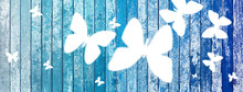Butterflies On Old Wood Background