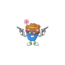 Confident Chocolate Love Cupcake Cowboy Cartoon Character Holding Guns