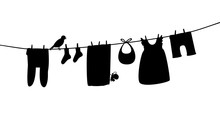 Baby Clothes On Clothesline. L...