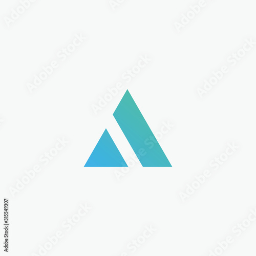 Initial letter A minimalist art logo with mountain concept. creative minimal logo summit design with letter A. elegant Logo template vector creative business. - VECTOR Wall mural