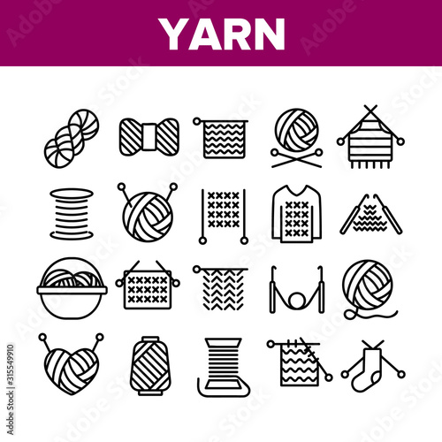 Fotomural Yarn Ball For Knitting Collection Icons Set Vector Thin Line
