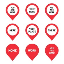 Set Of Red Direction Pointers. You Are Here Pin