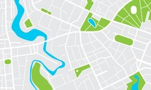 City Map With Parks And Squares, Rivers And Ponds. Town Streets And Avenues. Urban Gps Navigation Plan