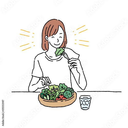 Fotografia サラダを食べる 女性 イラスト