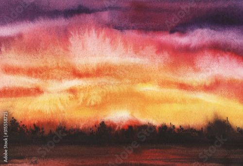 Obraz Abstract watercolor landscape. Open space during sunset. Rainbow gradient from yellow to red to purple. Sunset sky with clouds. Dark strip distant forest. Hand-drawn background on texture paper - fototapety do salonu