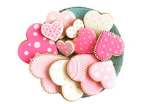 Set Of Pink Heart Shaped Cooki...