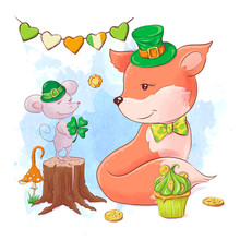 Cute Cartoon Fox And Mouse For...