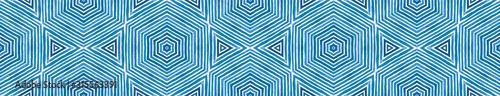 Obraz Blue Seamless Border Scroll. Geometric Watercolor  - fototapety do salonu