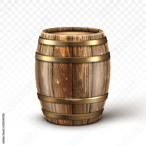 Vászonkép Wooden barrel for wine or beer