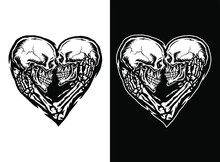 Vector Illustration Of Skull Couple, Isolated On Dark And Bright Background