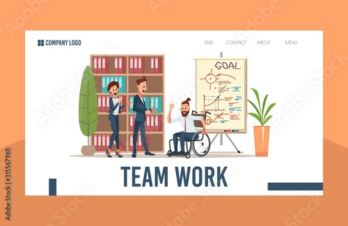 Successful Business Startup, Perspective Investment Project Trendy Flat Vector Web Banner, Landing Page Template Canvas Print