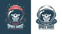 Astronaut Helmet With Skull - Vintage Emblem. Spaceman Skeleton In Space Suit - Retro Logo. Vector Illustration.