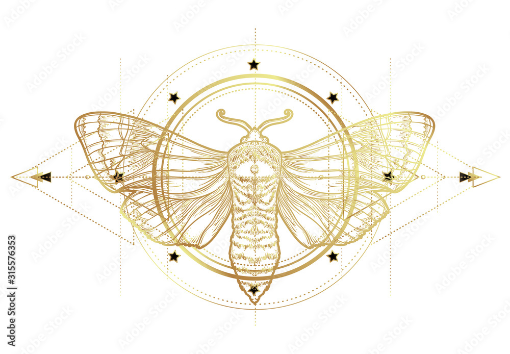 Fototapeta Golden moth over sacred geometry sign, isolated vector illustration. Tattoo flash. Mystical symbols and insects in gold. Alchemy, occultism, spirituality. Hand-drawn vintage.
