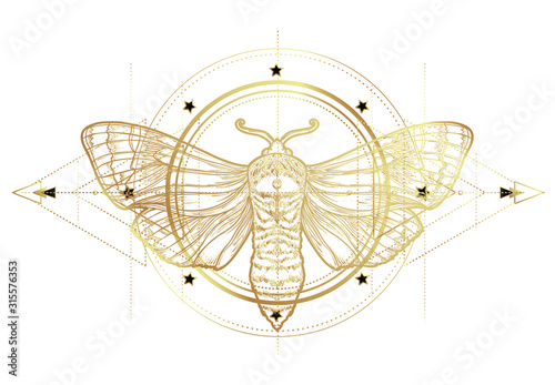 Fototapeta Golden moth over sacred geometry sign, isolated vector illustration. Tattoo flash. Mystical symbols and insects in gold. Alchemy, occultism, spirituality. Hand-drawn vintage. obraz