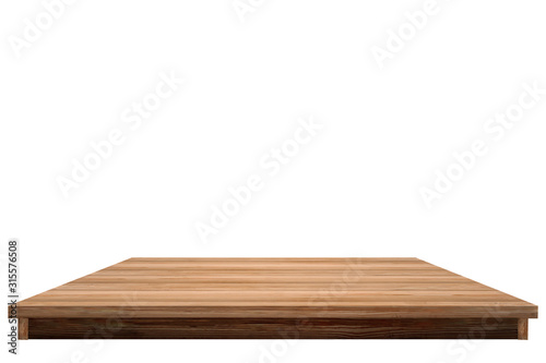 Wooden table isolated on white background Simple wooden table Canvas Print