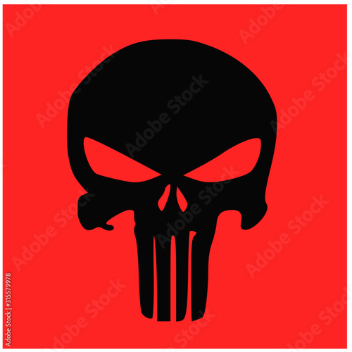 black skull and human bone icon symbol on red background Tablou Canvas
