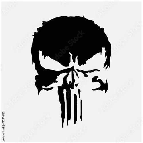 Fotografie, Tablou  black skull and human bone icon symbol on white background
